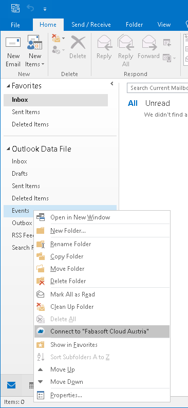 Connect the selected Outlook folder to the Fabasoft Cloud via right-click and drop-down menu.