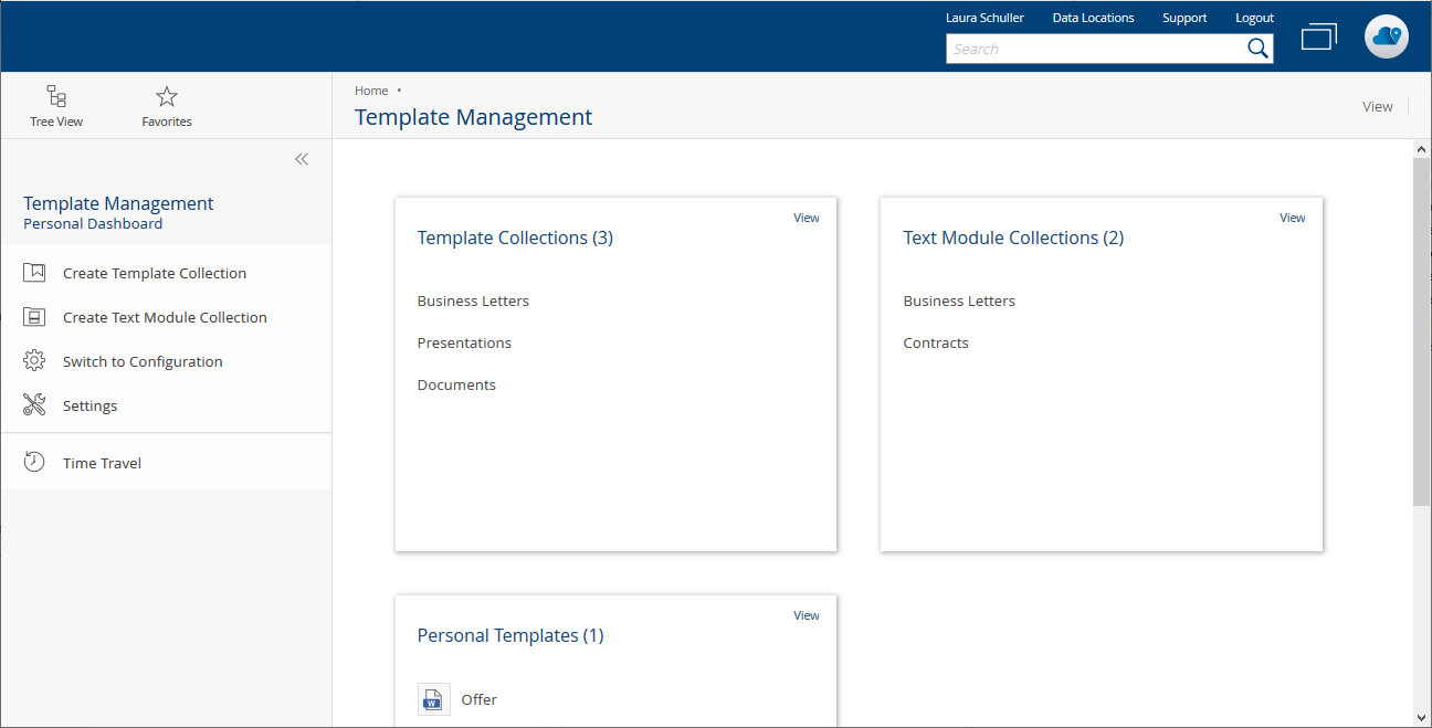 Dashboard template management in the Fabasoft Cloud