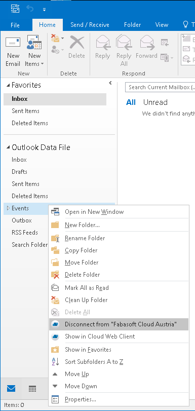 Disconnect the Outlook folder from the Fabasoft Cloud folder by means of a drop-down menu