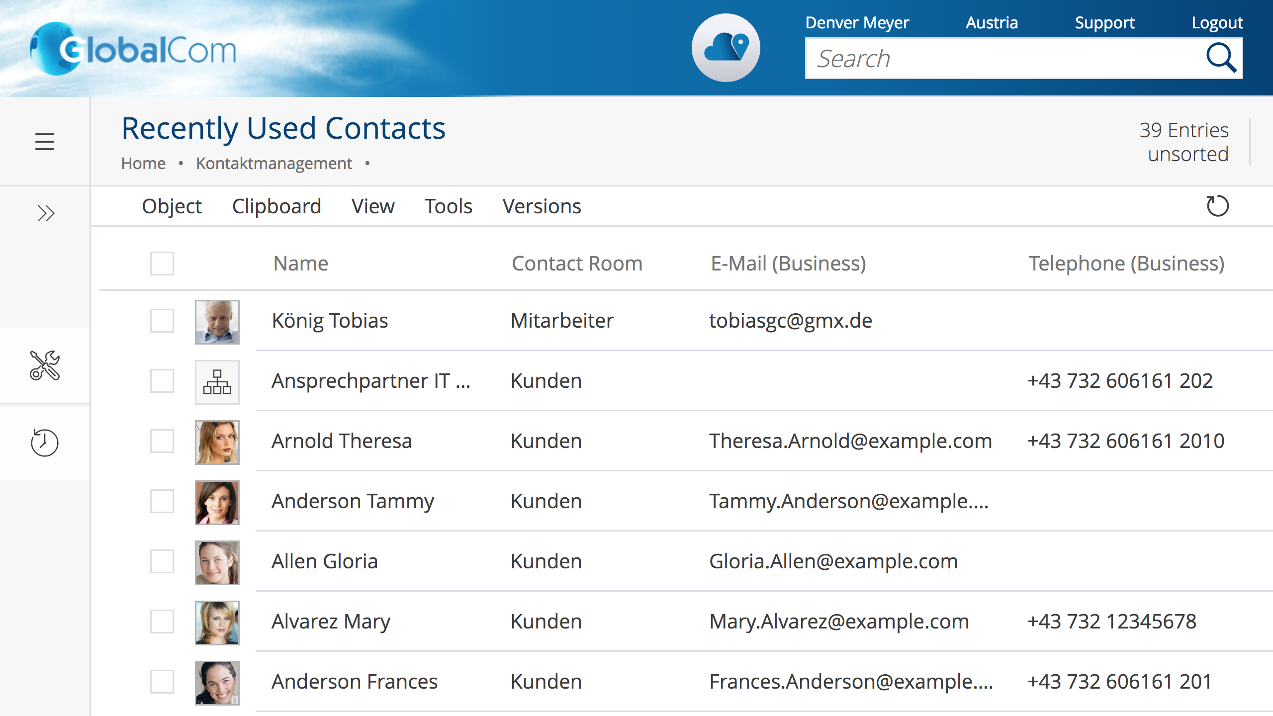 Screenshot Contact Management