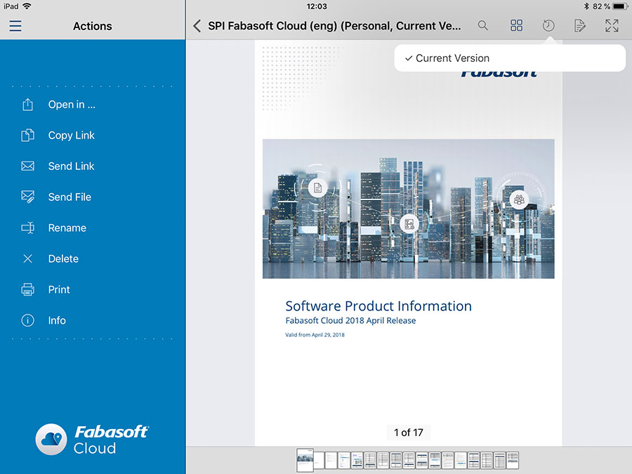 Opening of the current version of a PDF document with personal comments in the Fabasoft Cloud App