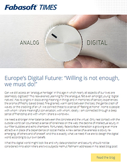 "Screenshot Fabasoft Times March 2019 - main headline: Europe's Digital Future: ""Willing is not enough, we must do!"""