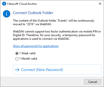 Password assignment for the connection via WebDAV
