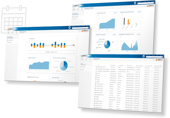 Dashboards in the Fabasoft Cloud give you an overview of all running processes.