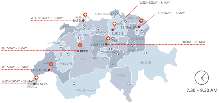 Map with business breakfast roadshow stops in Switzerland
