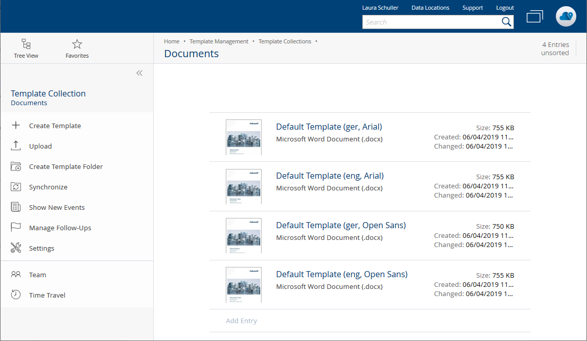 Template collections in the Fabasoft Cloud