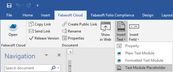 Text module placeholders in Fabasoft Cloud Template Management