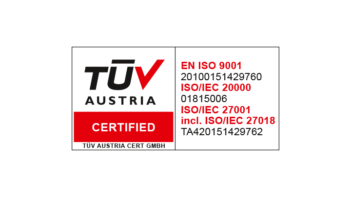 TÜV Austria ISO 27001 & ISO 27018 - Information Security and Protection of personal data
