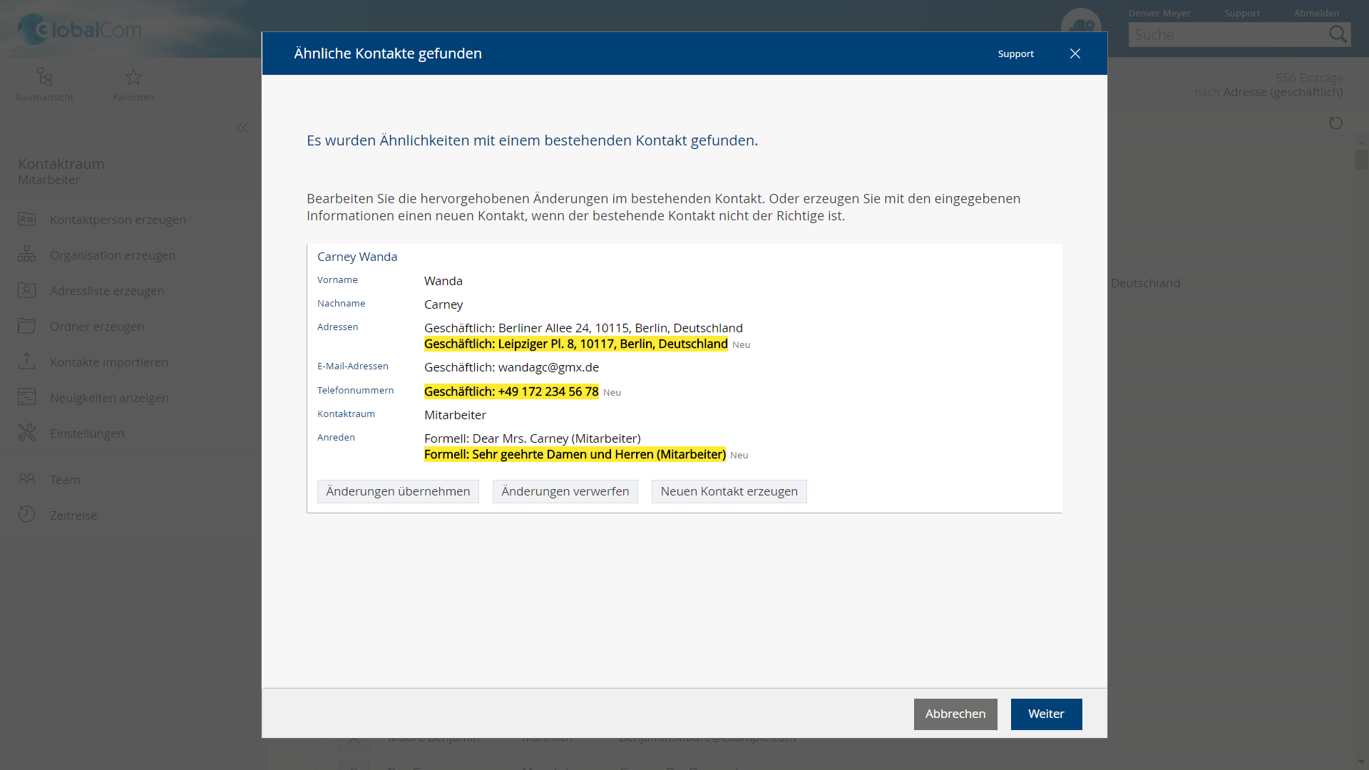 "Duplikate bearbeiten in der App ""Kontaktmanagement"" der Fabsoft Cloud"
